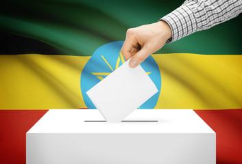 Ballot box with national flag on background - Ethiopia