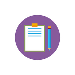 Clipboard with a pencil icon,  vector illustration