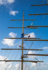 Masts on a Clipper Ship with Antigua Flag