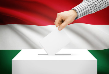 Ballot box with national flag on background - Hungary