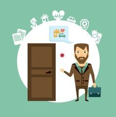insurance agent rings the doorbell  illustration