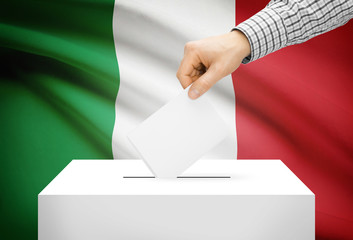 Ballot box with national flag on background - Italy