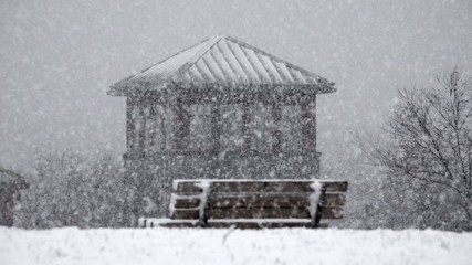 Park Bench, Snow, Winter