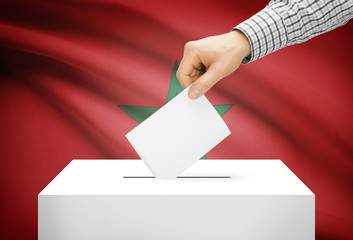 Ballot box with national flag on background - Morocco
