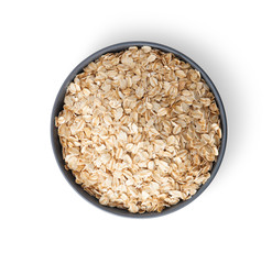 Oat flakes in bowl with clipping path