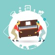 movers carry furniture piano illustration - 73292040