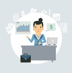 accountant sitting behind a desk illustration
