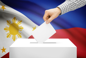 Ballot box with national flag on background - Philippines