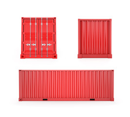 Red Cargo Container, Clipping Path