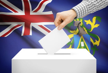 Ballot box with national flag on background - Pitcairn Island