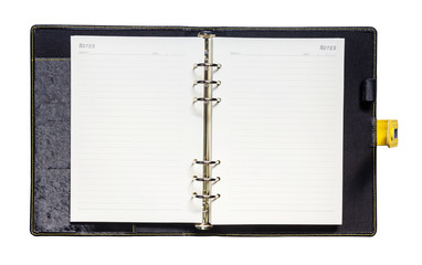 Notebook on white background with clipping path