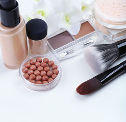 Basic make-up products, isolated on white