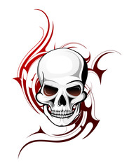 Skull tattoo shape with Gothic ornament on backdrop