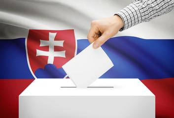Ballot box with national flag on background - Slovakia