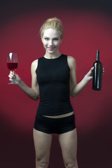 Beauty blon model and red wine