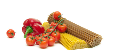 cherry tomatoes, peppers and pasta isolated on white background
