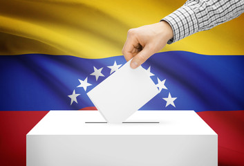 Ballot box with national flag on background - Venezuela