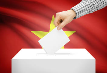 Ballot box with national flag on background - Vietnam