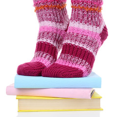 Girl in colorful socks standing