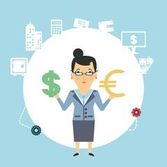 bank employee to change currency  illustration
