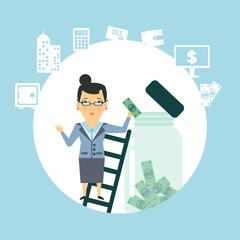 bank employee to keep money in the glass jar  illustration