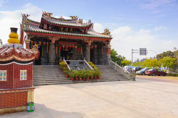 traditional chinese temple in chiayi, taiwan