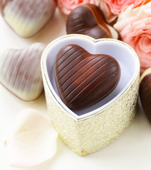 chocolate candy  hearts and roses for Valentine's day