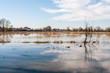 Leinwanddruck Bild - Campagna allagata per esondazione fiumi e torrenti