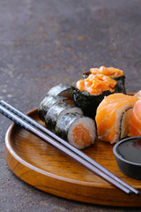 menu of assorted sushi with salmon - Japanese cuisine