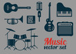 Rock music instruments icons set vector illustration - 73294034