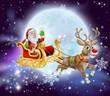 Santa Christmas Sleigh Moon