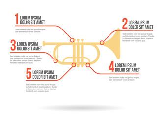 Trumpet instrument icon vector infographic