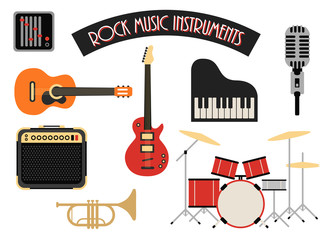 Rock music instruments icons set vector illustration