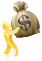Dollar money sack gold person