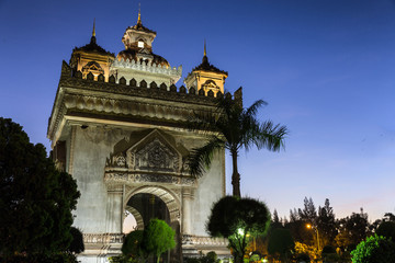 Gate of Triumph at sunset in Vientiane, Laos