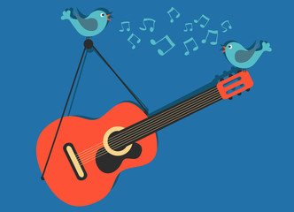 Guitar with singing birds vector music concept