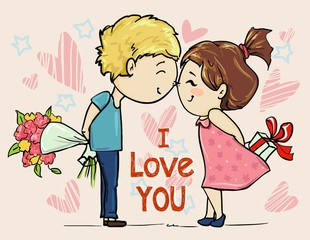 Cute card for Valentine's Day girl with boy love