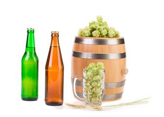 Barrel mug with hops and bottle of beer.