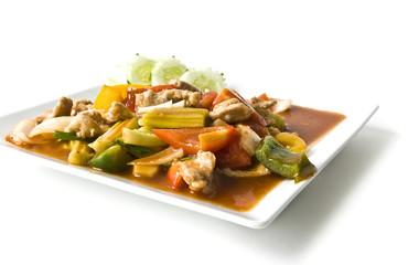 Asian pork in sour sweet sauce