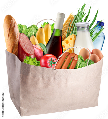 Keuken foto achterwand Boodschappen Bag with food isolated on a white background.