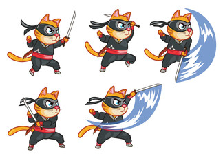 Cat Ninja Attacking Sprite