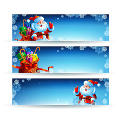 Banner with a bag of Christmas gifts