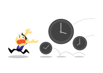 Vector Businessman Run Away from Times, Time Management concepts