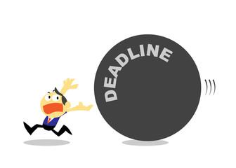 Cartoon Businessman Run Away from Deadline.