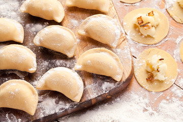Vareniki (dumplings) with potatoes and onion.