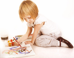 little cute blond girl painting isolated
