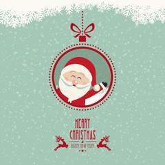 santa claus wave christmas ball snowflakes vintage background