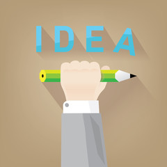 Illustration of a hand with a pencil symbolizing ideas