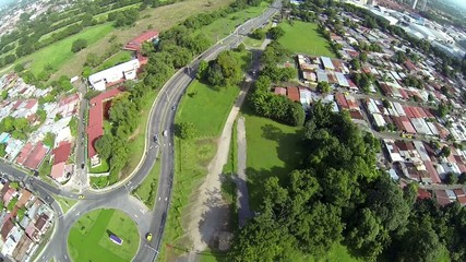 Aerial video footage of homes and streets in Panama City