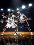Fototapeta Two basketball players in action